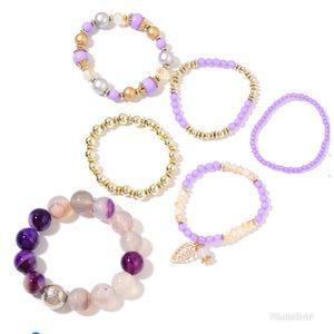 Set/6 Purple Agate Enhanced,GlassBeaded Bracelets
